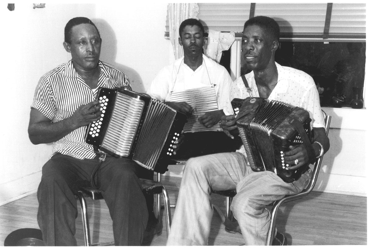 Albert Chevalier, Clifton Edmond and Robert Clemon recording at their house in Houston, Texas, 1961
