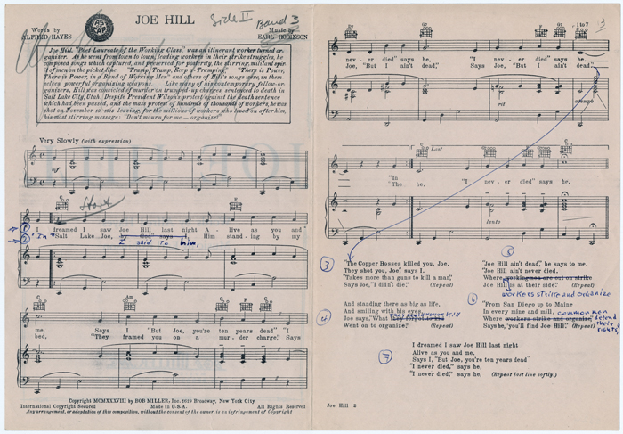 Archival image of sheet music with annotations from a Folkways Records production file.