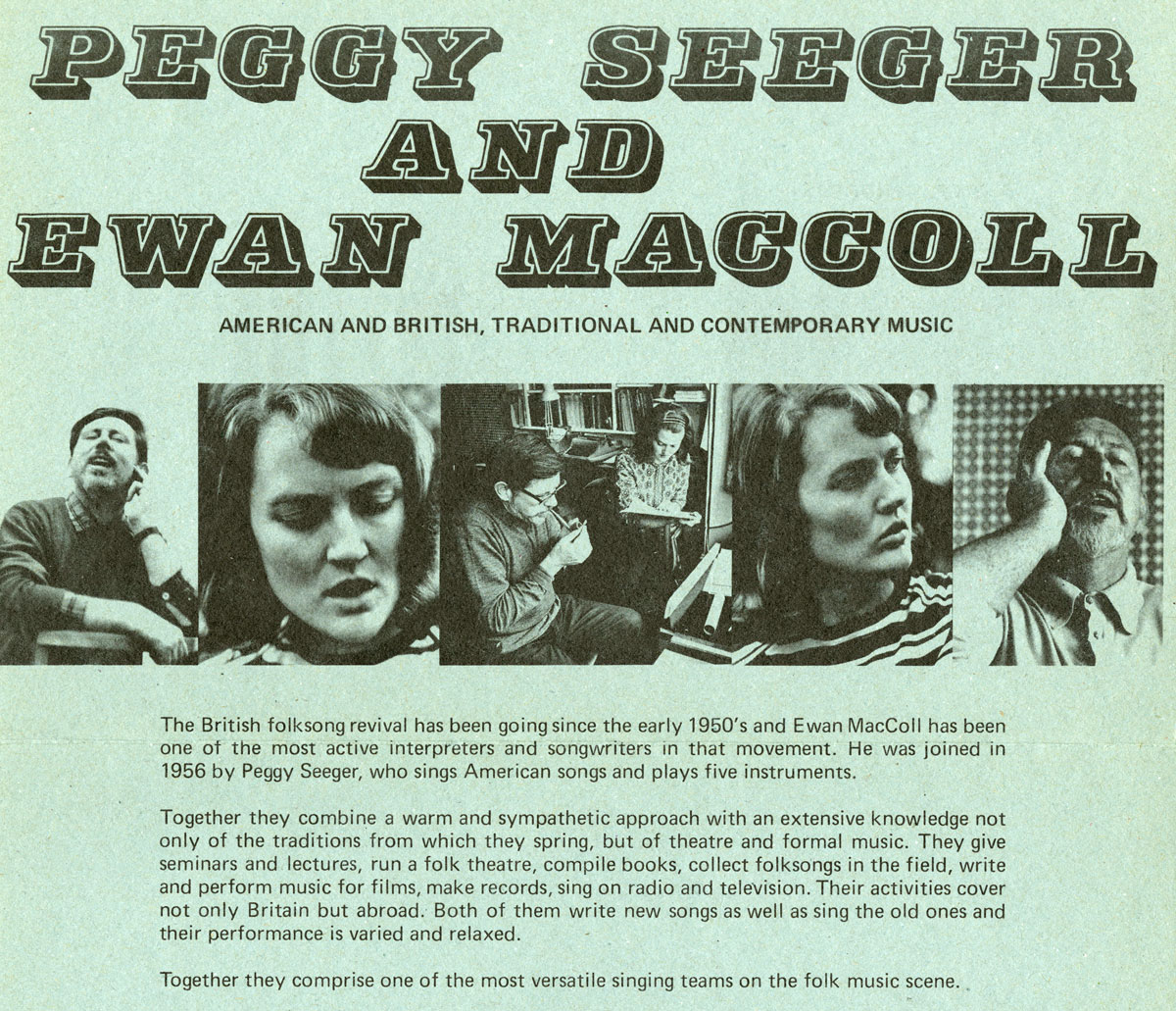 Selection from promotional leaflet about Peggy Seeger and Ewan MacColl.