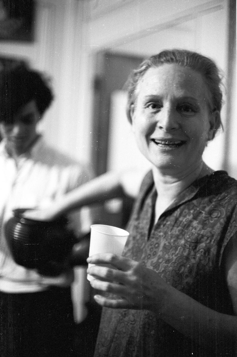 Broadside Magazine founder Sis Cunningham at a concert held in her New York apartment, mid-1960s