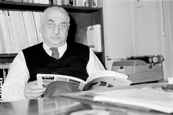 Folkways Records founder Moses Asch in his office.