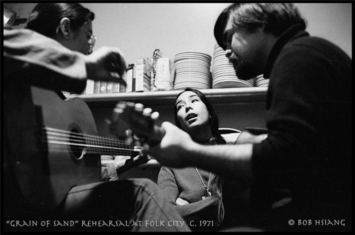 (L to R) Charlie, Nobuko, and Chris rehearsing in the kitchen of Folk City before a performance, New York City, ca. 1971.  Photo by and courtesy of Bob Hsiang