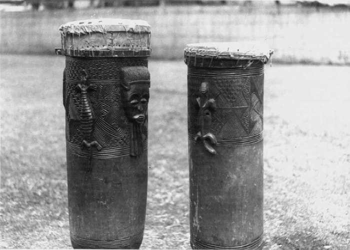 Chokwe people, Angola. Carved wooden drums.