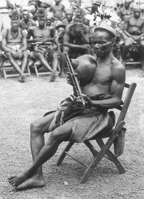 Medje people, northern Democratic Republic of Congo. Nenjenje 2-stringed zither (also called a lute), near Paulis (now Isiro).