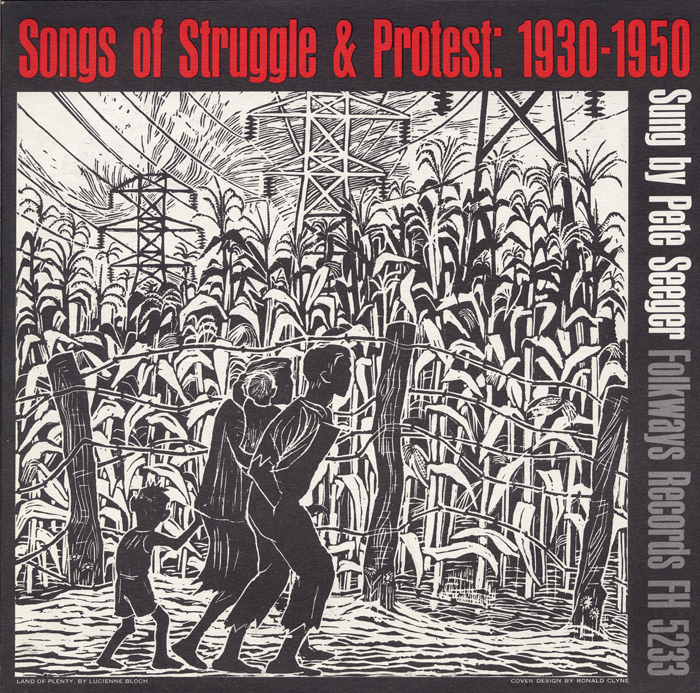The family in the foreground provides a stark contrast to the rich crop of corn from which they are separated by a barbed-wire fence. High-tension power lines signify the electrification of rural America, begun in the 1930s but of little use to the poor who could not afford it. The cover visually echoes the injustices outlined in the songs.