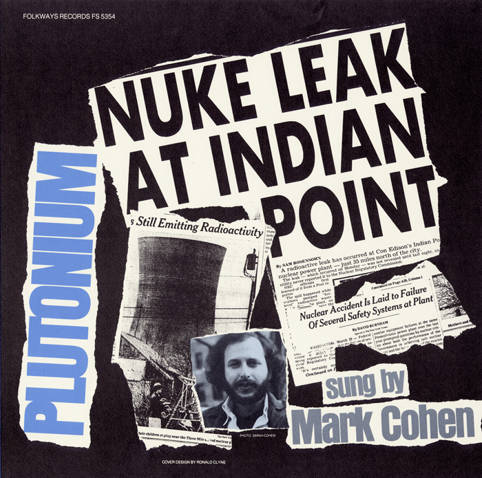 Collage is used to combine newspaper headlines, images, and articles with a photograph of singer Mark Cohen. The newspaper snippets reinforce the topicality of the subject and the fragmentary nature of available information concerning accidents in the nuclear industry.
