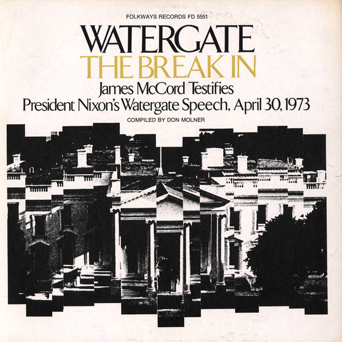 "Through the use of a broken faceting of the building's facade, this series of album covers vividly and literally illustrates the public's ""shattered"" faith in the White House in the wake of the Watergate hearings. Colour and typography provide variation within the otherwise consistent layout of the series."