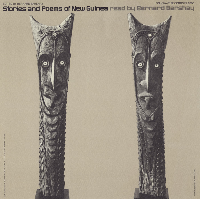 Clyne illustrates this album cover with carved New Guinea houseposts from his own collection to dramatic effect. Each part of the title, set along the top edge, is anchored to one of the heads. The strong layout structure, which divides the square format into three equal parts, exhibits the modernist aesthetic so prominent in his work.