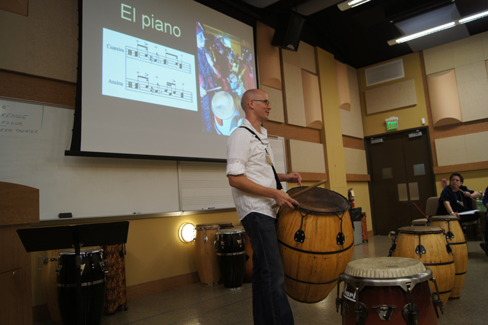 "The ""Music and Dance: African Diaspora and Americas"" workshop, held on October 19, 2013. Clifford Sutton led a presentation on candombe, an African-based music and dance from Uruguay."