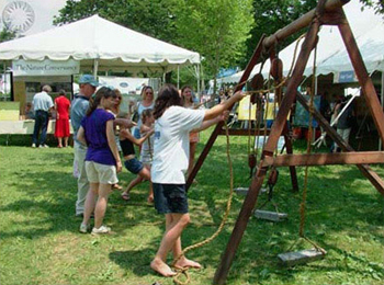 At the ''Water Ways: Mid-Atlantic Maritime Culture'' program of the 2007 Smithsonian Folklife Festival, kids are taught sailing skills through activities like this simulation of pulling up the sails.
