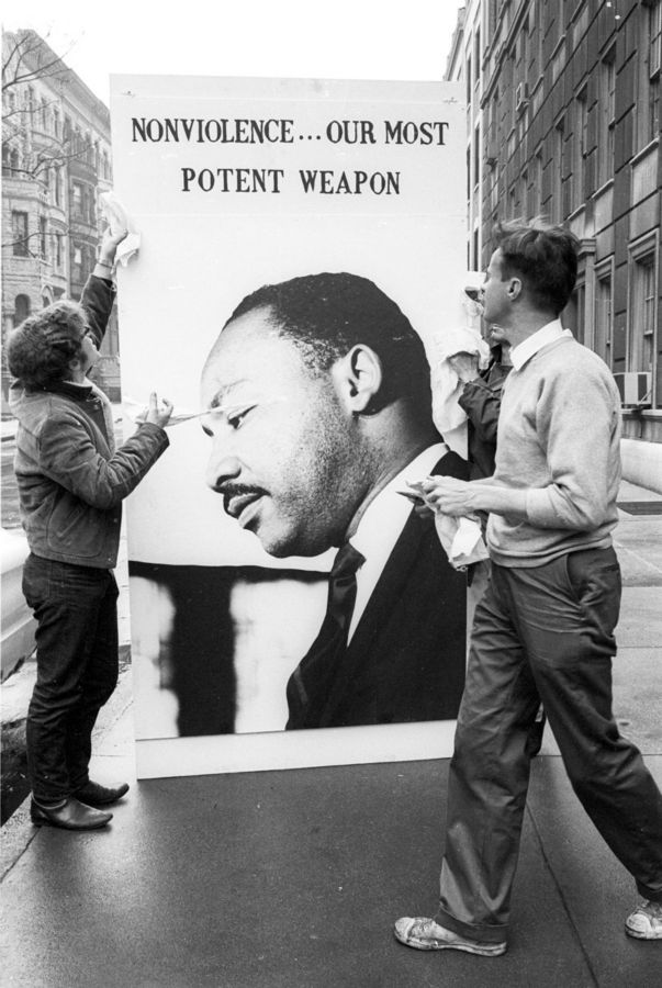 Peace marchers with a placard of Martin Luther King, New York City, April 27, 1968.