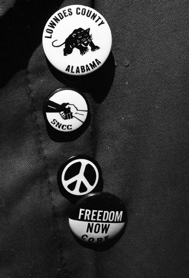 Civil Rights buttons are on display at a N.Y. CORE march to support James Meredith, New York City, June 11, 1966.