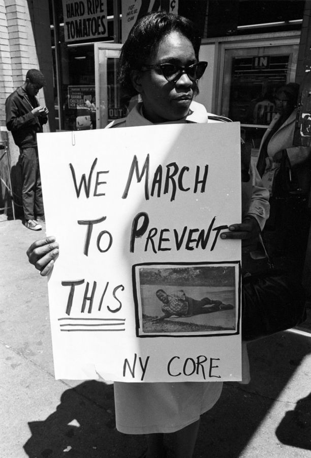 A woman in a Congress of Racial Equality (CORE) march in support of James Meredith in New York City, June 11, 1966.