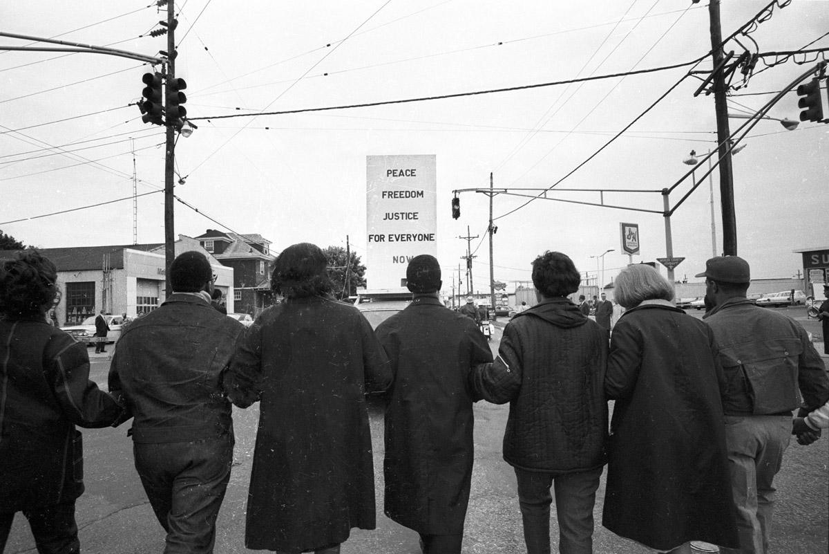 Participants link arms in the Poor People's Campaign in Marks, Mississippi, May, 1968.