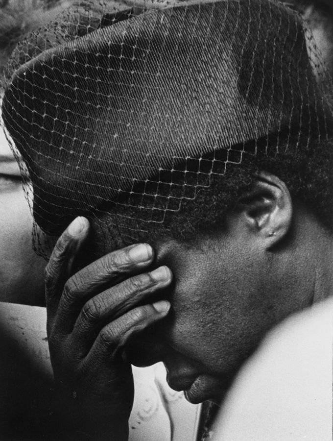 A woman shows her grief during a memorial in New York for Martin Luther King April 5, 1968, the day after he was killed in Memphis.