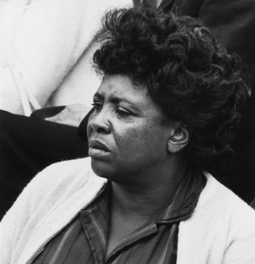 Civil Rights song leader Fannie Lou Hamer takes part in a workshop on Civil Rights songs at the 1965 Newport Folk Festival.
