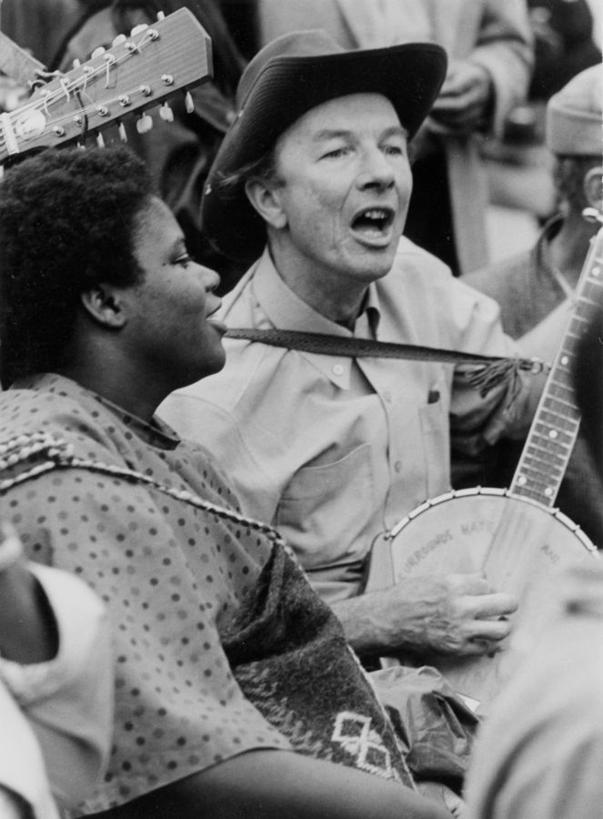 Bernice Johnson Reagon and Pete Seeger perform during the Poor People's Campaign in Washington, D.C., May-June 1968.