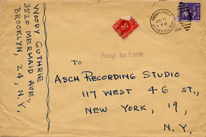 Original envelope, 7/31/1946, Woody Guthrie to Asch Recording Studio, manuscript.