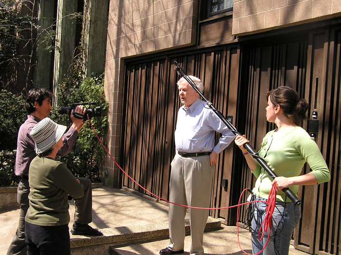 Charles Weber, Margaret Asch, and Lauren Kritzer document Ronald Clyne at his home in Brooklyn, 2005.