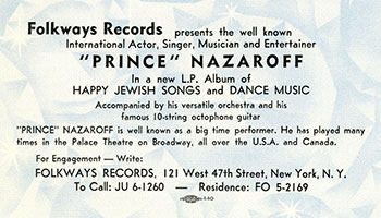 Front side of a Folkways promotional card for Prince Nazaroff's Jewish Freilach Songs. Circa 1954.