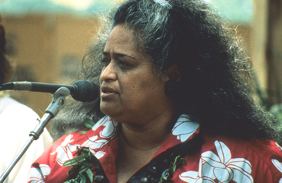 Pualani Kanaka'ole Kanahele performs at the 1989 Smithsonian Folklife Festival. Photo courtesy of the Ralph Rinzler Folklife Archives and Collections, Smithsonian Institution.